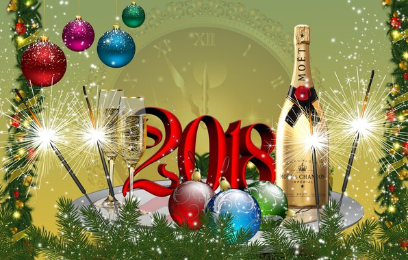 Picture balls, graphics, tree, New year, champagne, 2018