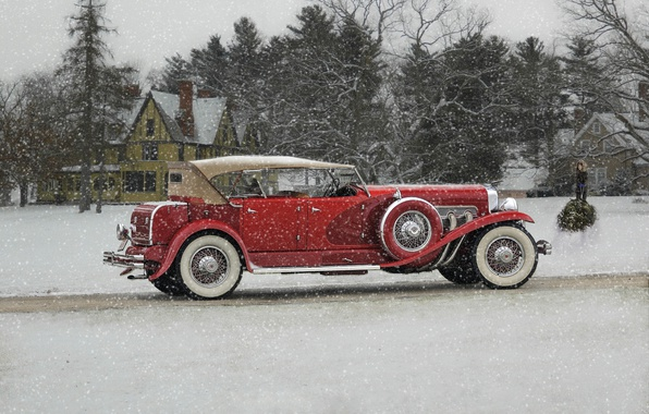 Picture winter, snow, retro, classic, Duesenberg, 1932 Duesenberg Model J Phaeton