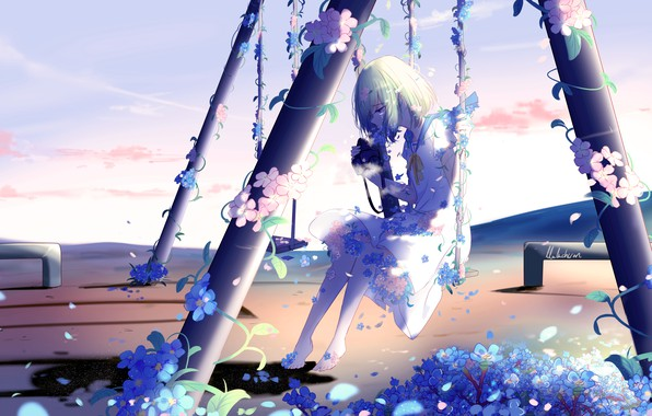 Picture girl, flowers, swing, crying, by lluluchwan