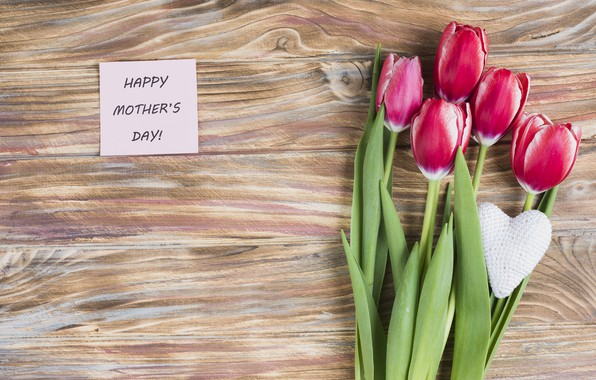 Picture flowers, tulips, love, pink, fresh, heart, wood, pink, flowers, tulips, spring, mom, mother's Day