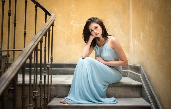 Picture pose, wall, model, portrait, makeup, dress, hairstyle, railings, stage, brown hair, beauty, sitting, barefoot, on …