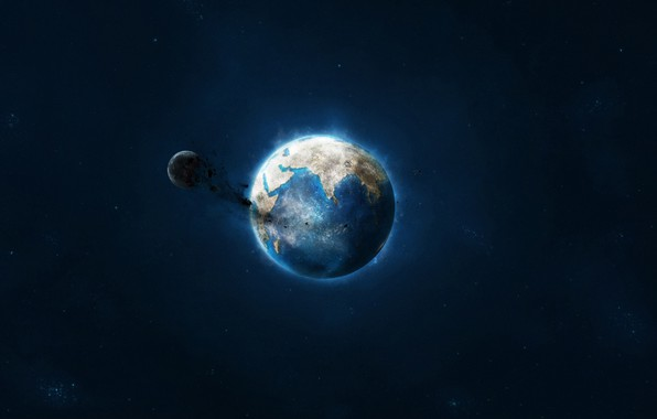 Picture stars, The moon, Space, Earth, Landscape, The destruction of the moon