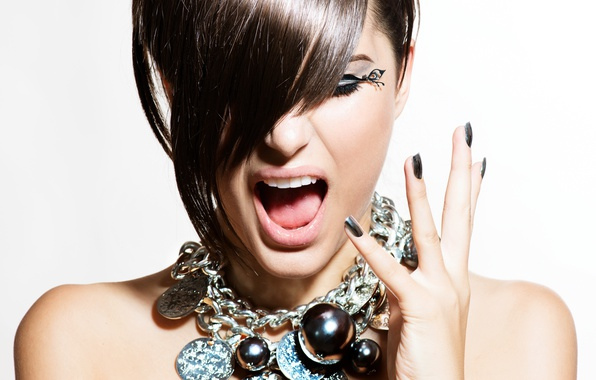 Picture woman, make-up, during, Hairstyle, gestures
