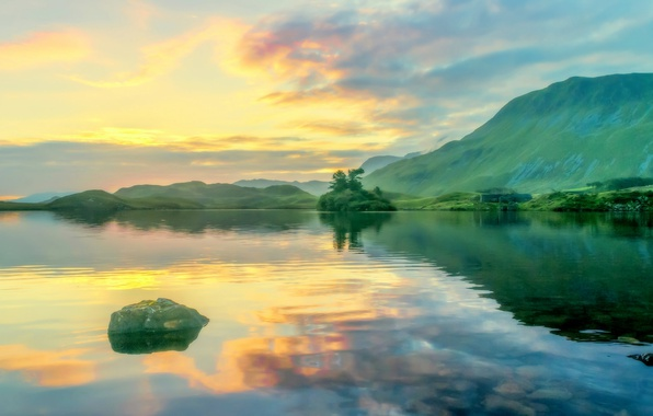 Picture clouds, mountains, lake, Wales, Llyn Cregennan