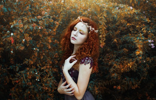 Picture girl, mood, makeup, red, Diadema, curls, redhead, the bushes, Valentina Rubilar