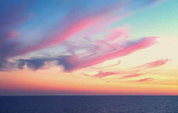 Picture twilight, seascape, dusk, horizon, pink clouds