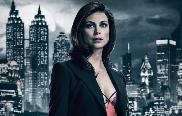 Picture girl, night, the city, lights, background, fiction, the moon, Morena Baccarin, makeup, brunette, hairstyle, the ...