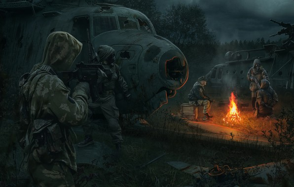 Picture art, soldiers, dump, Chernobyl, Stalker, Stalker, stalker, stalkers