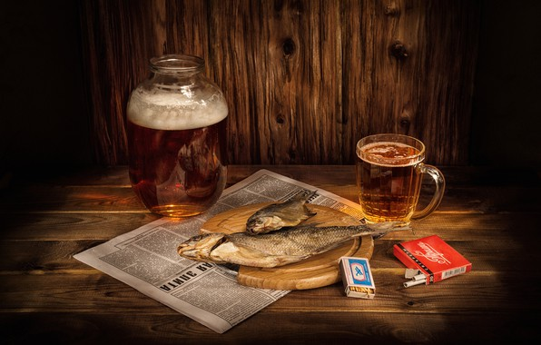 Picture glass, beer, matches, fish, mug, newspaper, Bank, still life, cigarette, salmon, roach, Prima