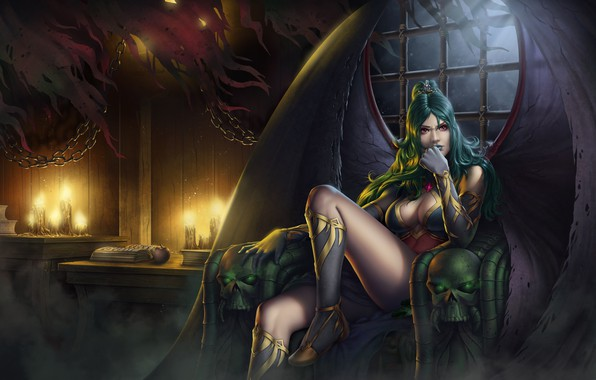 Picture chest, girl, light, night, the moon, feet, wings, candles, art, vampire, Evelyn