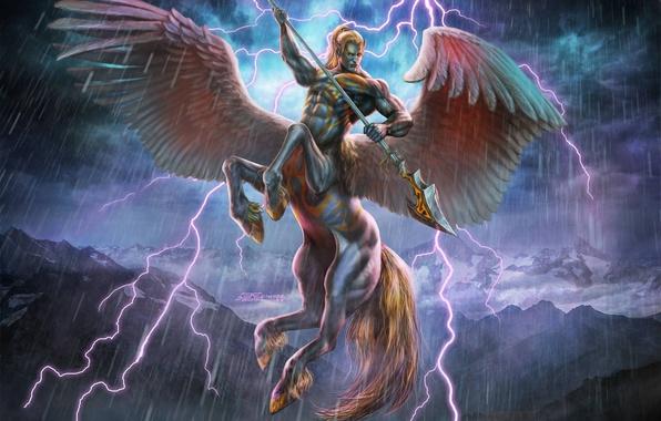 Picture mountains, lightning, Art Edit, Pegasuscentaur, Phasecenter