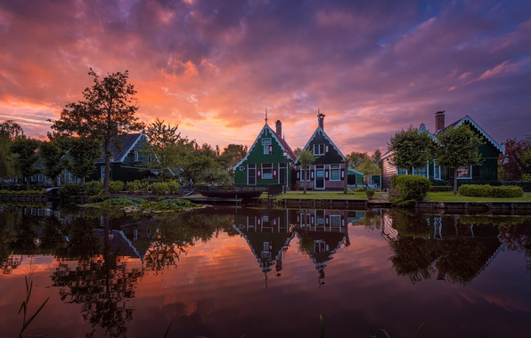 Picture the sky, clouds, home, the evening, morning, channel, Netherlands, Holland