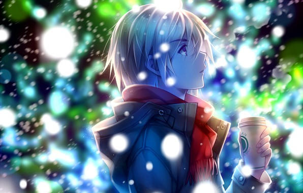 Picture winter, night, jacket, profile, guy, Cup, art, blonde, the first snow, looking up, Tidsean, red …