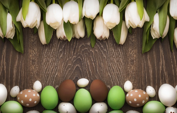Picture Easter, tulips, white, wood, tulips, spring, Easter, eggs, decoration, Happy, tender, white tulips