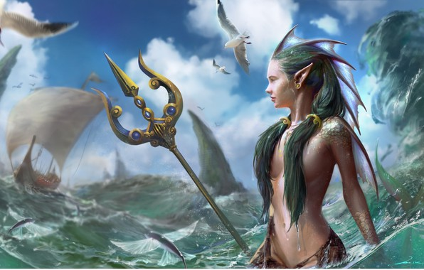 Picture sea, the sky, look, hair, ship, mermaid, seagulls, fantasy, art, Trident, profile
