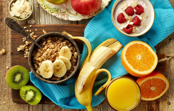 Picture raspberry, apples, apple, towel, oranges, Breakfast, kiwi, juice, juice, fruit, banana, fruit, orange, muesli