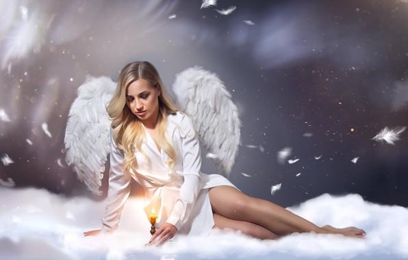 Picture candle, wings, angel, feathers, Sergey Kiboga, Polina Taran