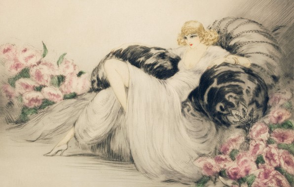 Picture 1935, Peonies, Louis Icart, the blonde in the chair