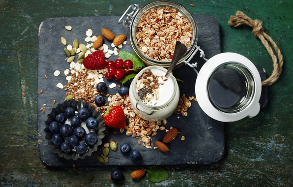 Picture berries, Breakfast, blueberries, strawberry, nuts, muesli, yogurt, red currant