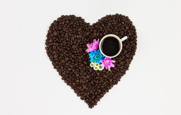 Picture love, flowers, heart, coffee, grain, love, heart, pink, flowers, cup, romantic, beans, coffee