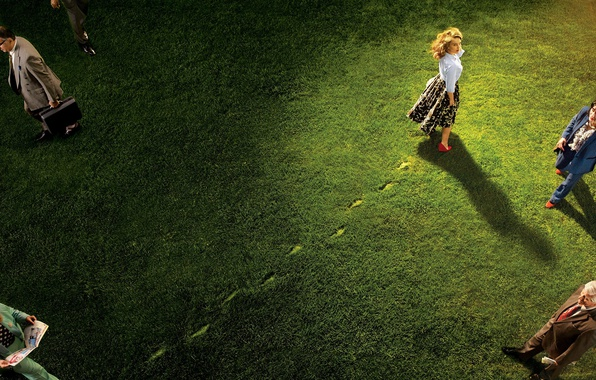 Picture grass, look, light, traces, people, lawn, skirt, actress, hairstyle, shoes, blouse, Natalie Portman, Natalie Portman, …