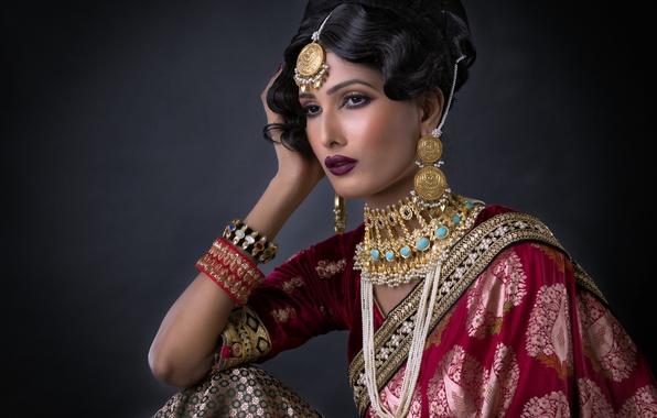 Picture girl, decoration, makeup, the bride, saree, wedding dress