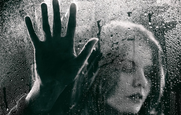 Picture glass, girl, drops