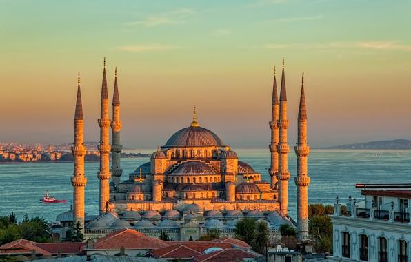 Picture landscape, sunset, Strait, tower, temple, Istanbul, Turkey, Palace, The blue mosque, Sultanahmet