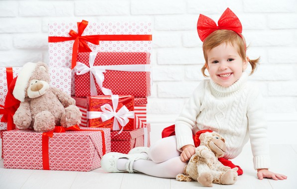 Picture joy, holiday, new year, girl, gifts, bow, box