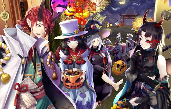 Picture night, holiday, anime, art, Halloween