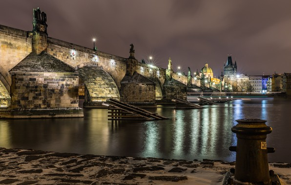 Picture night, bridge, lights, river, home, Prague, Czech Republic, lights, promenade