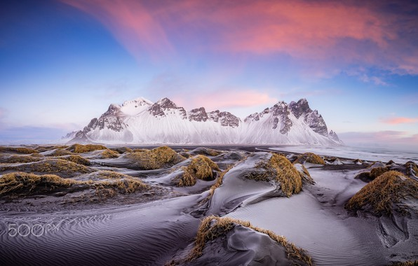 Picture beach, the sky, mountains, mountain, Iceland