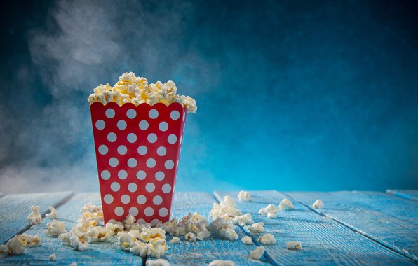Picture food, blur, dumb-dumb, popcorn, bokeh, delicious, appetizing, wallpaper., popcorn, popcorn, the surface of the table