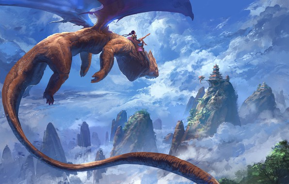 Picture girl, fantasy, sky, flying, wings, mountains, clouds, painting, dragon, castle, digital art, artwork, fantasy art, …