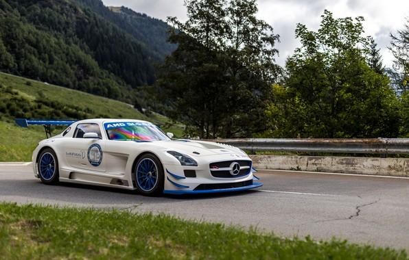 Photo wallpaper GT3R, SLS, White, Mercedes