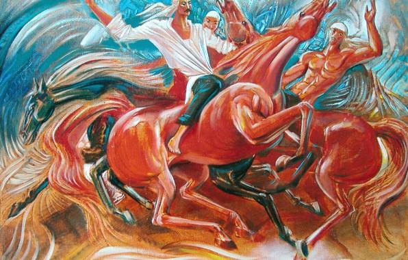 Picture horse, Aibek Begalin, Two thousand six, Kazakhstan painting, Horsemen