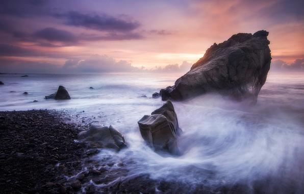 Picture sea, beach, the sky, nature, stones
