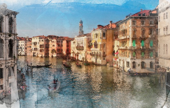 Picture water, paint, boats, Venice, painting, gondola, Watercolor