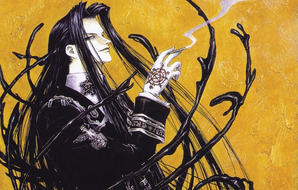 Picture smoke, cigarette, gloves, trinity blood, pentagram, long hair, grin, art, military uniform, Trinity blood, Isaak …