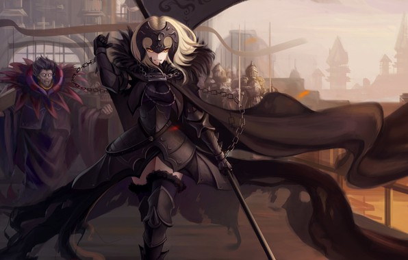 Picture girl, weapons, anime, warrior, chain, fate, fate/grand order, joan of arc, fate/apocrypha, jeanne age