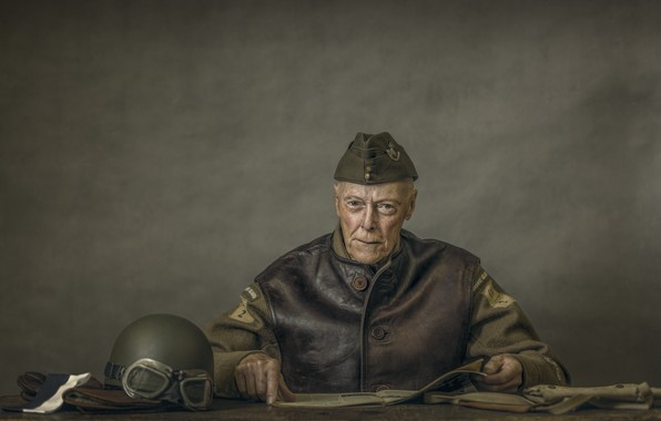 Picture look, table, glasses, male, helmet, military