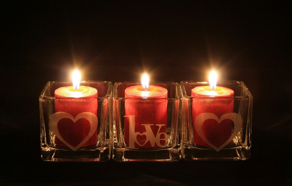 Picture light, the dark background, fire, candles, Love, Valentine's Day, the holiday of all lovers