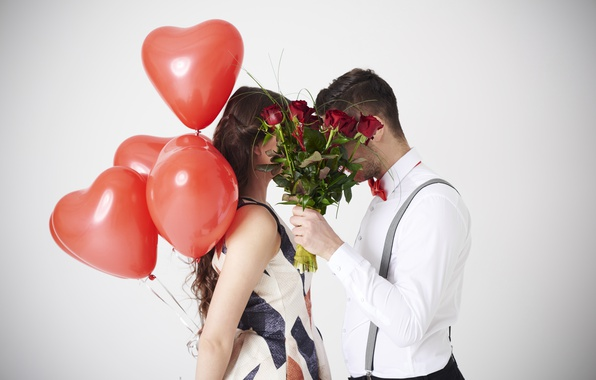 Photo wallpaper girl, white background, pair, Valentine's day, roses, lovers, balloons, hearts, guy, red, bouquet, flowers