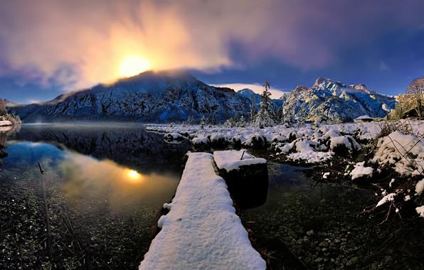 Photo wallpaper winter, snow, river, nature