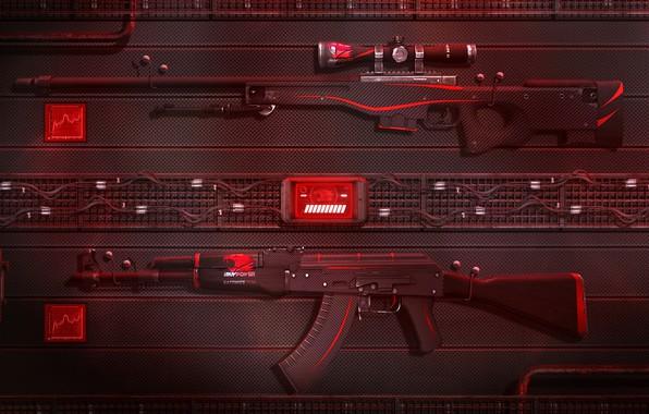 wallpaper art ak 47 game weapons sci fi cs go awp redline