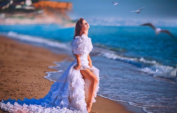 Picture sand, sea, beach, girl, the sun, birds, seagulls, dress, red, the bride, in white, bokeh