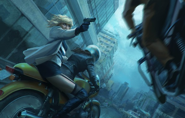 Picture girl, gun, Charlize Theron, chase, motorcycle, helmet, bike, art, Lorraine Broughton, Atomic Blonde