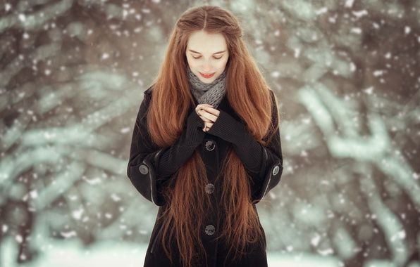Picture winter, girl, snow, nature, hands, red, snowfall, coat, long-haired
