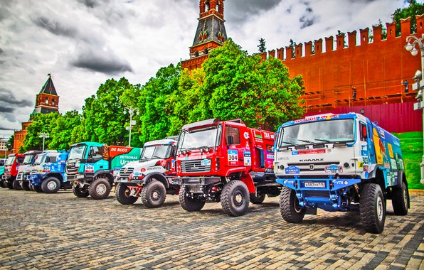 Photo wallpaper Sport, Renault, Kamaz, Trucks, Silk Way, Russia, IVECO, Start, The show, MAZ, Red square, KAMAZ, ...