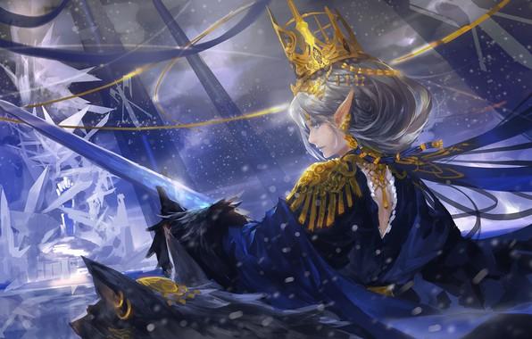 Wallpaper Girl, Sword, Weapon, Anime, Crown, Elf, Princess